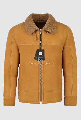 Men B3 Fur Shearling Sheepskin Leather Jacket Yellow Mustard Flying RAF LKM-148