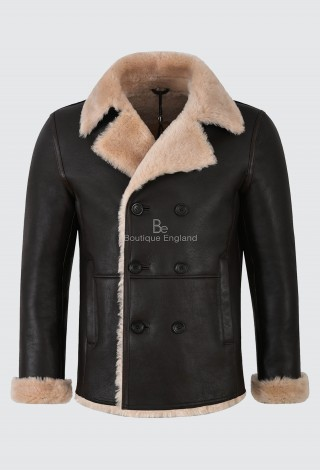 Men's Shearling Sheepskin Jacket Double Breasted Brown Beige Fur Coat WW2 NV-128