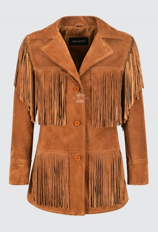 Women Western Fringes Leather Jacket Tan Classic Fringe Real Suede Jacket 5937