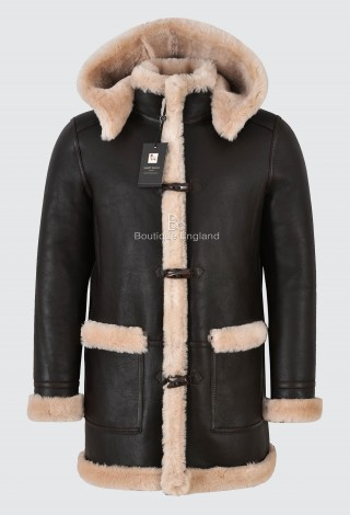 Men's Leather Sheepskin Duffle Coat Brown Beige Fur Hooded 100% Shearling ivar F-42