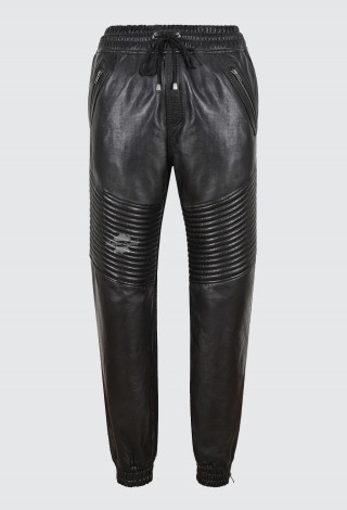 Men's Real Leather Trousers Black Napa Quilted Track Pants Jogging Bottoms 4050