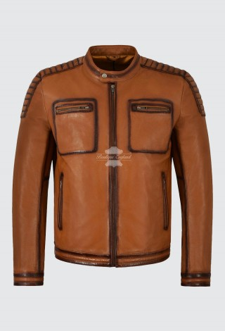 Men's Real Leather Jacket Tan 100% Lambskin Casual Fashion Motorcycle Style 4108