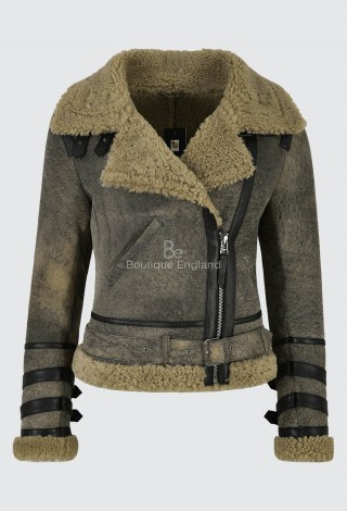 Ladies Vintage Biker Sheepskin Jacket Grey Beige Fur 100% Real Shearling LAURA
