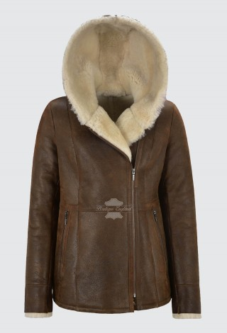 Ladies B3 Flying Sheepskin Shearling Jacket Antique Rust Beige Fur Hooded NV-39