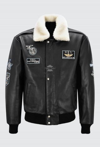 Men's Black Aviator Bomber Leather Jacket Air Force Style B3 Fur Collared Cowhide 1224