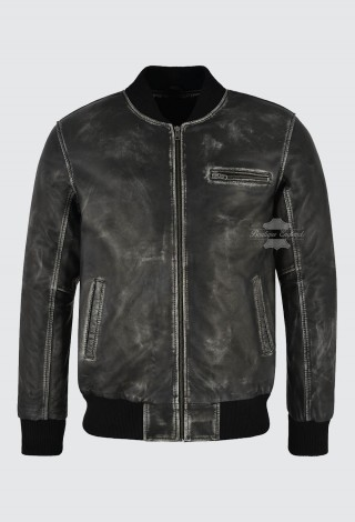 Men's Real Leather Bomber Jacket Black Vintage Napa Street Inspired Biker Style 275-Z