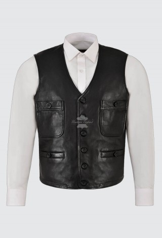 Men's Classic Black Leather Waistcoat Motorcycle Biker Vest Nice-Fit 100% Leather 4024