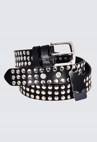 Men's Black Leather Studded Belts FULL GRAIN LEATHER | 40mm Width Casual and Party 625