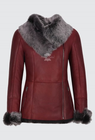 Women's Natural Sheepskin Shearling Leather Jacket New Toscana Bordeaux Grey Fur Style SC-388