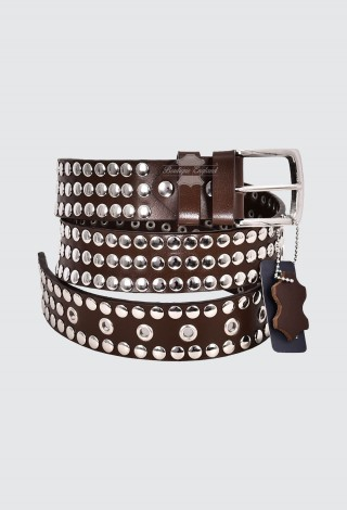 Men's Brown Leather Studded Belts FULL GRAIN LEATHER | 40mm Width Casual and Party 625