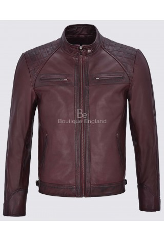 Brad Pitt's Mens Real Leather Speed Racing Quilted Shoulders Cherry Biker Jacket 1201