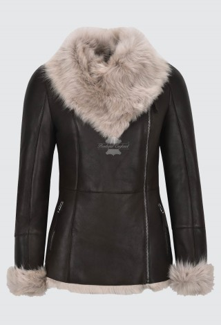 Women's Natural Sheepskin Shearling Leather Jacket New Toscana Brown Beige Fur Style SC-388