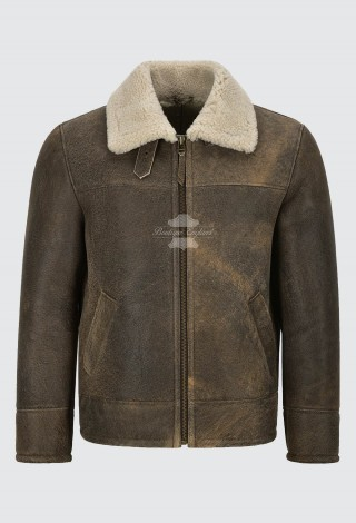 Men's B3 Shearling Sheepskin Leather Jacket Dirty Beige Fur Flying RAF SC-1022