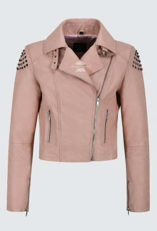 Ladies Skull Studded Leather Jacket Pink Back Studded Biker REAL SOFT NAPA 2740
