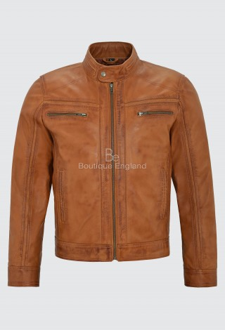 'RAGE' Men's Tan Leather Jacket BIKER STYLE 100% Leather FASHION Biker 7862