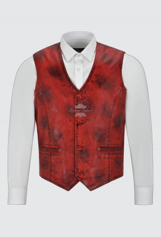 Men's Real Leather Vest 100% Lambskin New Party Fashion Stylish Dirty Red Waistcoat 5226