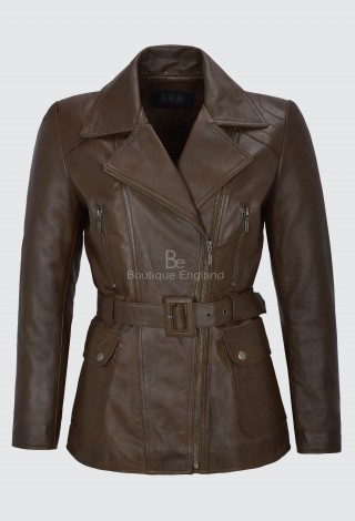 ANGELINA LADIES TRENCH COAT LEATHER BROWN MID LENGTH CLASSIC REAL LEATHER BS-222