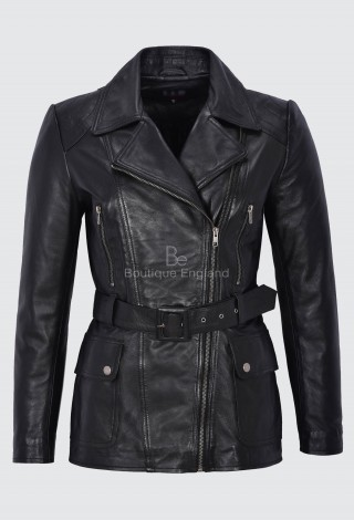 Angelina Ladies Trench Coat Leather Black MID LENGTH CLASSIC REAL LEATHER BS-222