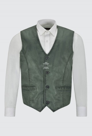 Men's Real Leather Vest 100% Lambskin Party Fashion Style V-Neck Grey Waistcoat 5226