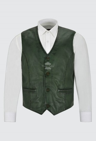 Men's Real Leather Vest 100% Lambskin Party Fashion Style V-Neck Green Waistcoat 5226