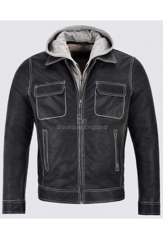 Men's Real Leather Jacket Buffalo Skipper Biker Motorcycle Style Slim Fit Material Hood Jacket