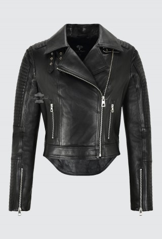CATARINA Ladies Cropped Biker Fashion Leather Jacket with Dovetail