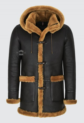 Men's Leather Sheepskin Duffle Coat Brown Ginger Fur Hooded 100% Shearling Ivar