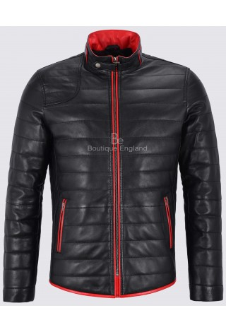 Steve Barnett Real Quilted Puffer Leather Jacket With Red Trimming Biker Lambskin 4141