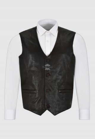 Men's Natural Wrinkled Nappa Leather Waistcoat Dark Brown Party Fashion Vest, Leather Gilet, Traditional Style Vest 5226