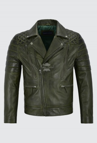 Matt Lauer Men's Real Leather Jacket Olive Green Slim Fit Biker Style 3205