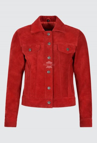 Women's Trucker Real Leather Jacket 100% Suede Casual Fashion Shirt Red Jacket 1680