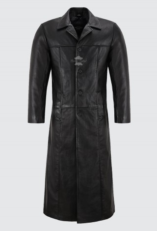Men's Black FULL-LENGTH Coat Long 100% Soft REAL Leather DETECTIVE Series 3484