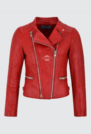 Ladies Leather Jacket Classic Biker Style Red REAL Leather Womens Jacket 6256