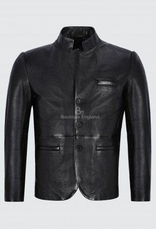 Men's Leather Jacket Black Classic Stand Up Collar 100% Lambskin Leather 4746