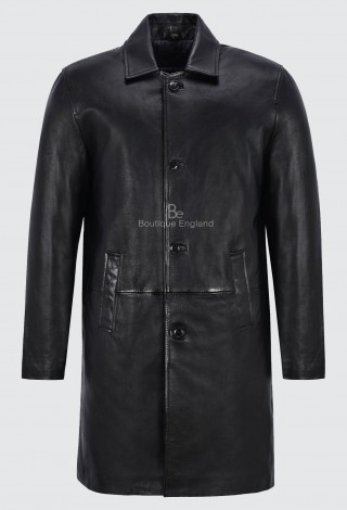 Men's Knee Length Leather Coat Black Classic 3/4 Trench Real Lambskin Coat 1476