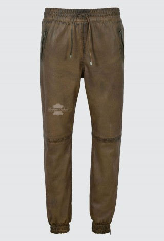 Men's Real Leather Trousers Dirty Brown Sweat Track Pant Zip Jogging Bottom 3040