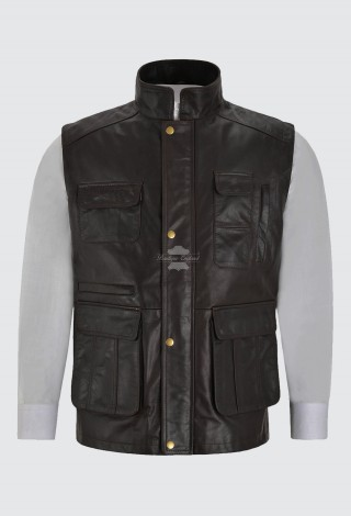 Waistcoat Gilet Men's Leather Hunter Multi Pocket Vest Fishing Hiking Brown 8494