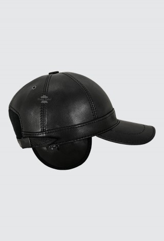 Men's Real Leather Baseball Caps Hat Black Lambskin Winter Hats with Ear Flaps