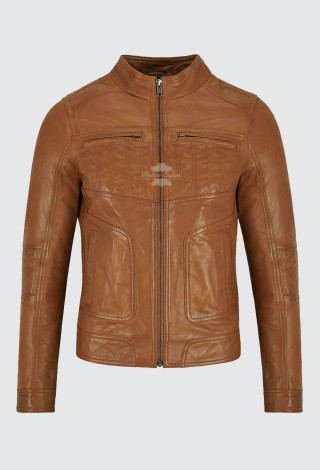 Ladies Leather Jacket Classic Fashion Tan Real Leather Womens Summer Jacket L-MVP