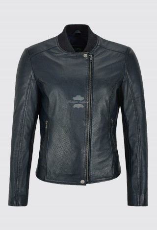 Ladies Leather Jacket Navy Perforated Classic Casual Fashion Bomber Style 1940