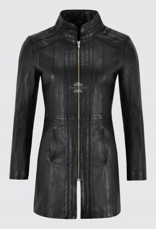 Trench Ladies Leather Jacket Black Nappa Mid Length Coat Classic Fashion 1021