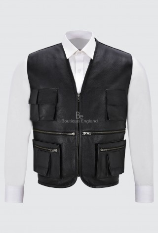 Men's Real Leather Hunter Waistcoat Black 100% Cowhide For Fishing Hunting Hiking