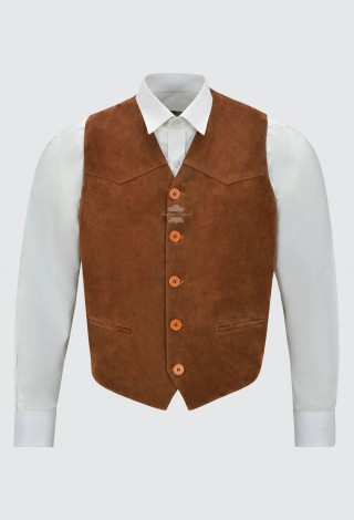 Men's Tan Suede Real Leather Waistcoat Western Cowboy Festival Party Zara Vest