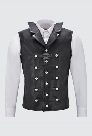 Steam Punk Leather Waistcoat Black Military Studded Style 100% Real Leather 1458