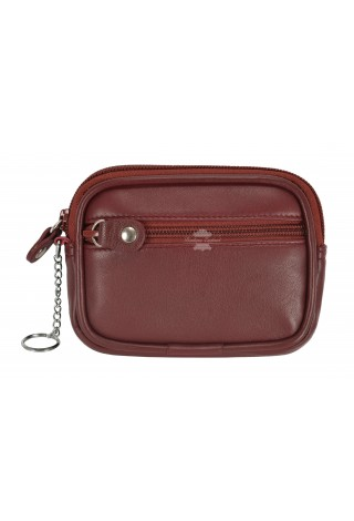 POUCH UNISEX ZIP POCKET COIN CARD HOLDER WALLET CHERRY REAL LEATHER ZIP POUCH 1120