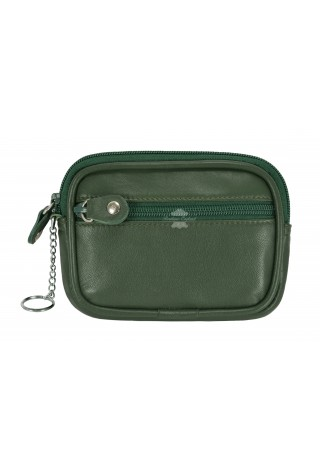 POUCH UNISEX ZIP POCKET COIN CARD HOLDER WALLET GREEN REAL LEATHER ZIP POUCH 1120