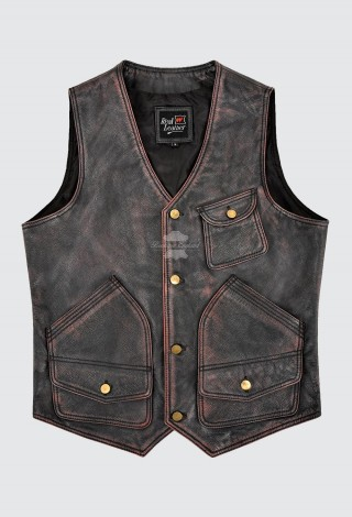 Men's Vintage Leather Vest Black Red Waxed Real Cow Leather Rock Hunter Waistcoat 9693