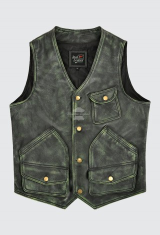 Men's Vintage Leather Vest Green Waxed Real Cow Leather Rock Hunter Waistcoat 9693