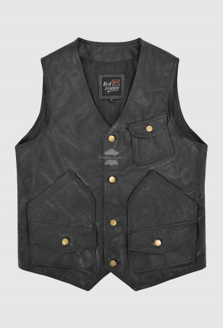 Men's Biker Leather Vest Real Cowhide Hunter Shooter Rock Punk Waistcoat 9693