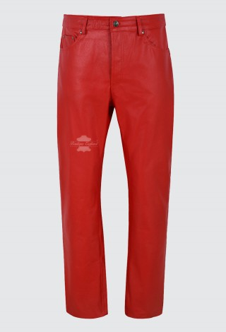Men's Real Leather Trouser Red Hide Biker Motorcycle Classic Jeans Style 501